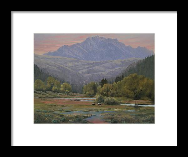 Landscape Framed Print featuring the painting 070815-1814  Evening Over Long Scraggy Mt. by Kenneth Shanika