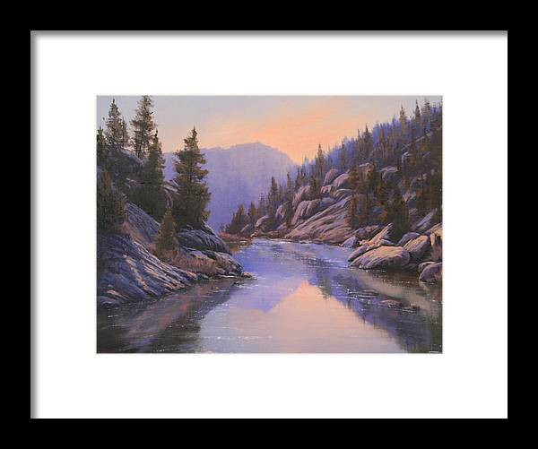 Landscape Framed Print featuring the painting 071123-1612 Remnants Of The Day In The Canyon by Kenneth Shanika