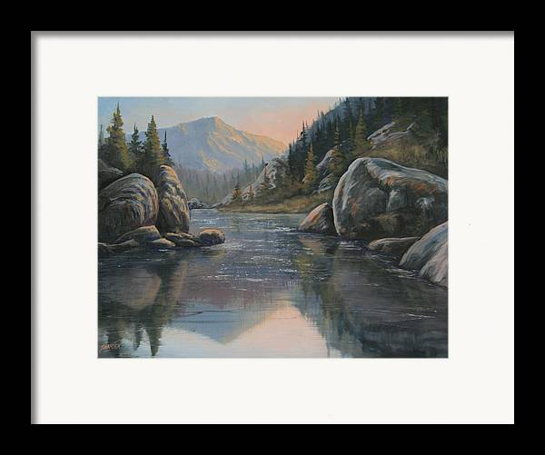 Landscape Framed Print featuring the painting 071215-1612 Fading Light by Kenneth Shanika