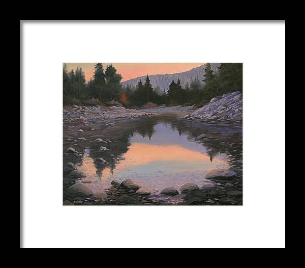 Landscape Framed Print featuring the painting 080110-2016 Sundown Reflections by Kenneth Shanika