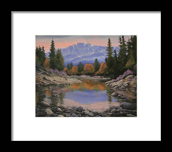 Landscape Framed Print featuring the painting 080120-1814 October View - Pikes Peak by Kenneth Shanika