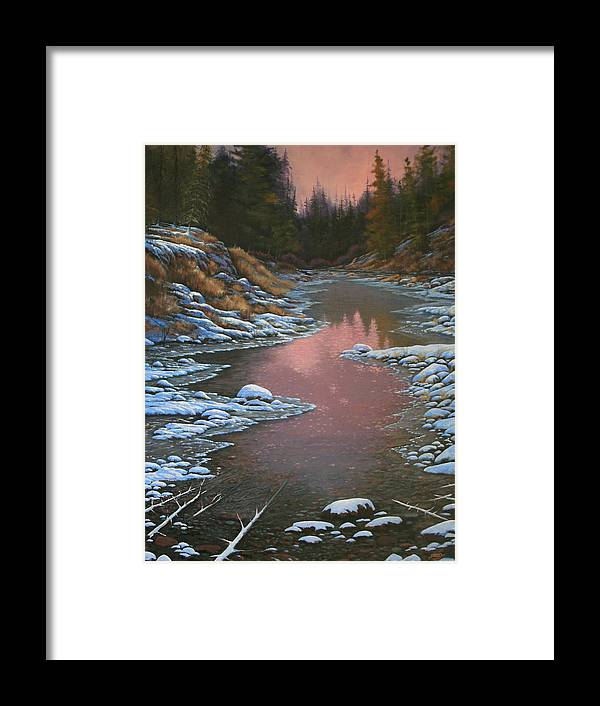 Landscape Framed Print featuring the painting 080210-3040 Early Morning Light - Winter by Kenneth Shanika