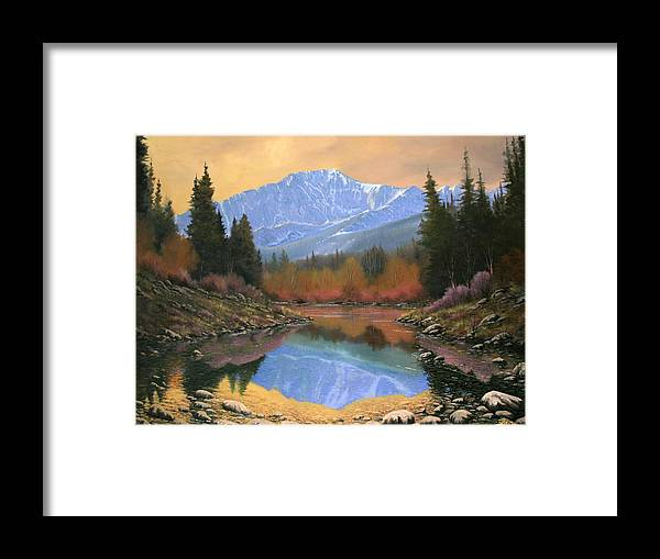 Landscape Framed Print featuring the painting 080220-4030 In All Its Glory - Pikes Peak by Kenneth Shanika