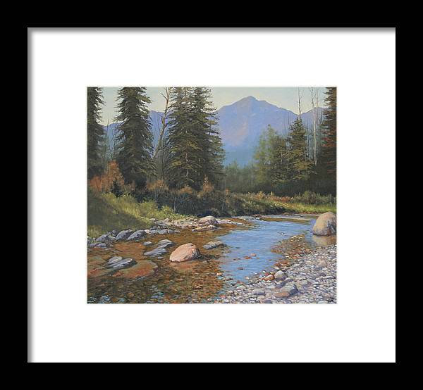 Landscape Framed Print featuring the painting 080323-2420 Tranquility by Kenneth Shanika
