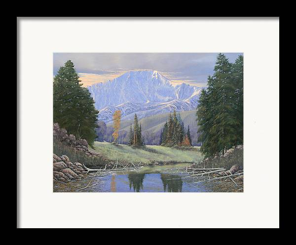 Landscape Framed Print featuring the painting 080324-4030 Breaking Through - Pikes Peak by Kenneth Shanika