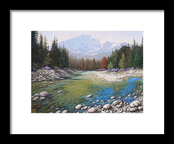 Landscape Framed Print featuring the painting 080401-4030 Shallow Waters - Pikes Peak by Kenneth Shanika