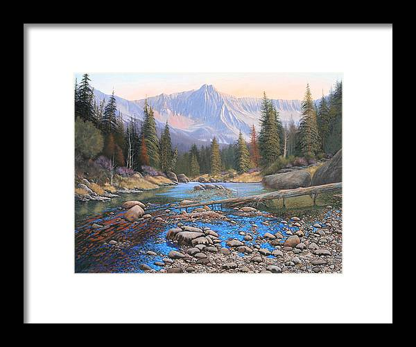 Rocky Mountain Landscape Framed Print featuring the painting 080503-4836 Late Summer Run-Off by Kenneth Shanika
