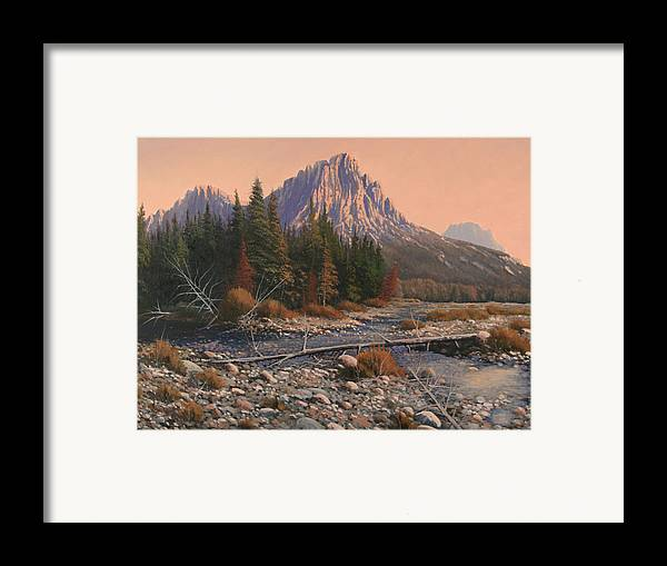 Rocky Mountain Landscape Framed Print featuring the painting 080525-1620 Fading Light On Horse Thief Creek by Kenneth Shanika
