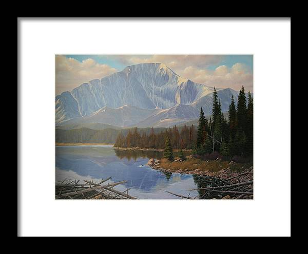 Pikes Peak Framed Print featuring the painting 080625-3648 Holding On To Summer by Kenneth Shanika