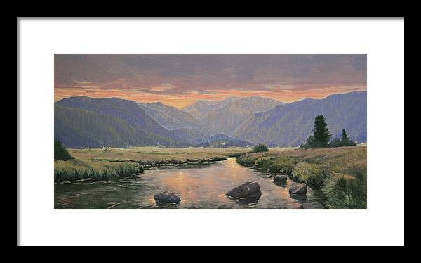 Landscape Framed Print featuring the painting 080818-1224 Day Slipping Into Dusk by Kenneth Shanika