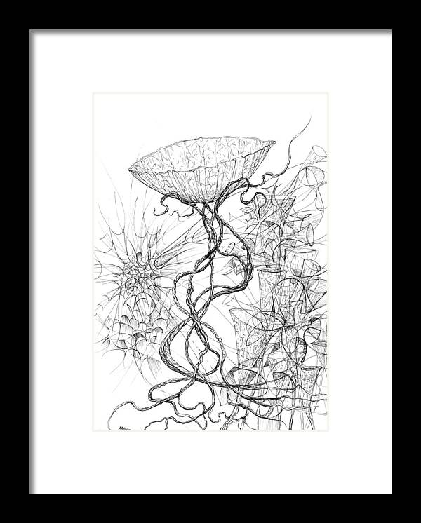 Botanic Botanical Blackandwhite Black And White Zentangle Zen Tangle Abstract Acceptance Circles Comfort Comforting Detailed Drawing Dreams Earth Framed Print featuring the painting 0810-1 by Charles Cater