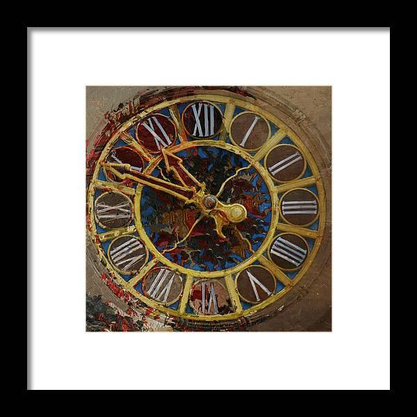 Tiffany Clock Framed Print featuring the painting 082 Tiffany Clock by Mahnoor Shah