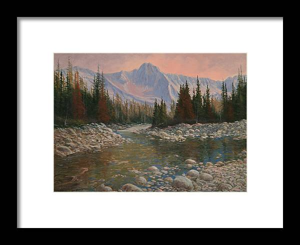 Original Oil Painting Framed Print featuring the painting 090504-1216  Rocky Creek by Kenneth Shanika