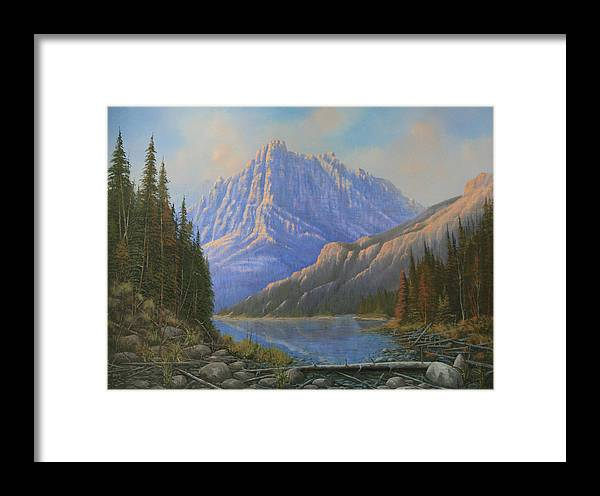 Landscape Framed Print featuring the painting 090523-3040  Between Heaven And Earth by Kenneth Shanika