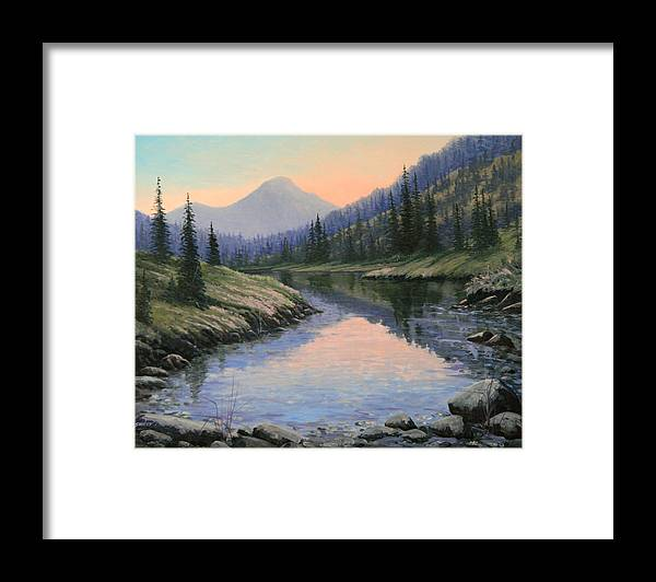 Landscape Framed Print featuring the painting 090715-1620 the Glow Of Sunset by Kenneth Shanika
