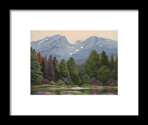 Landscape Framed Print featuring the painting 090817-1114 Ripples and Reflections - Sprague Lake by Kenneth Shanika