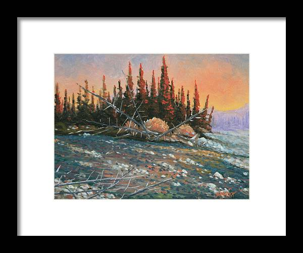 Landscape Framed Print featuring the painting 090902-68 All Aglow by Kenneth Shanika