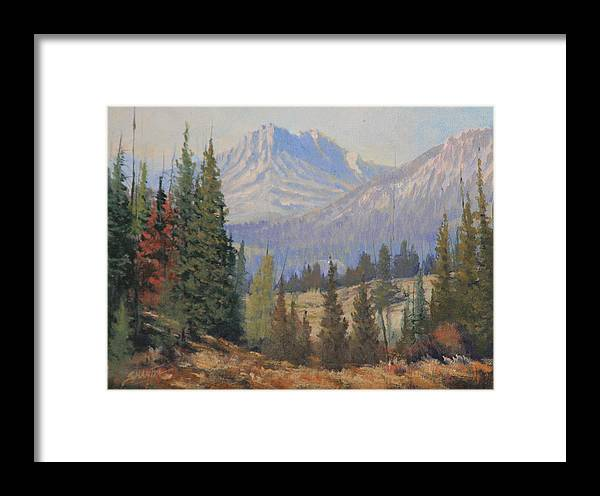 Landscape Framed Print featuring the painting 090915-68 Beckoning Solitude by Kenneth Shanika