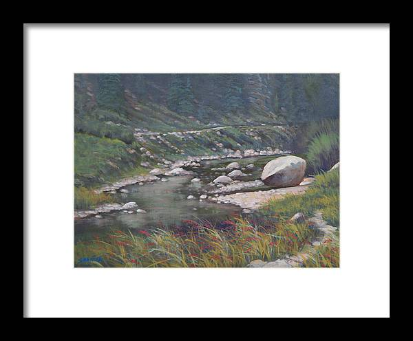 Landscape Framed Print featuring the painting 091001-912 Etched By Eons by Kenneth Shanika