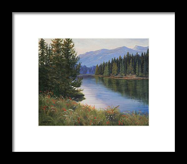 Landscape Framed Print featuring the painting 091005-810 Ripples And Reflections by Kenneth Shanika