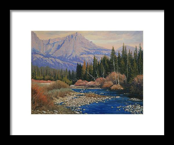 Landscape Framed Print featuring the painting 091019-912 Wandering Toward Sundown by Kenneth Shanika
