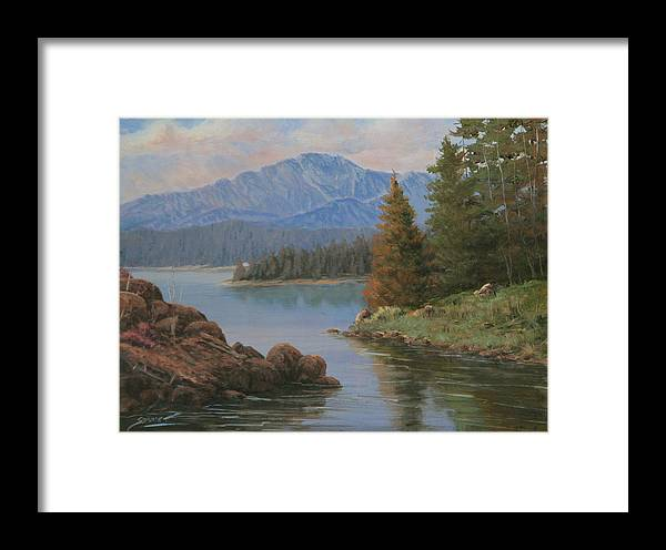 Landscape Framed Print featuring the painting 091021-912 The Peak In June by Kenneth Shanika