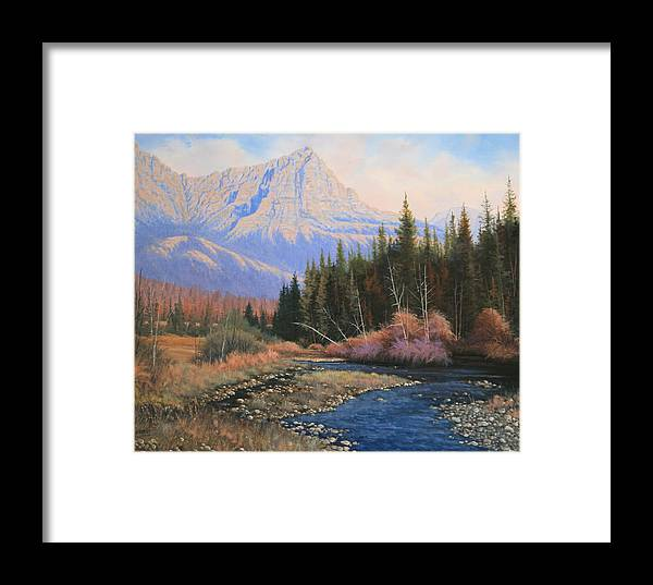 Landscape Framed Print featuring the painting 091022-2024 Into The Back Country by Kenneth Shanika
