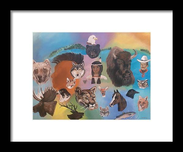 Animals Framed Print featuring the painting Many Faces by Aleta Parks