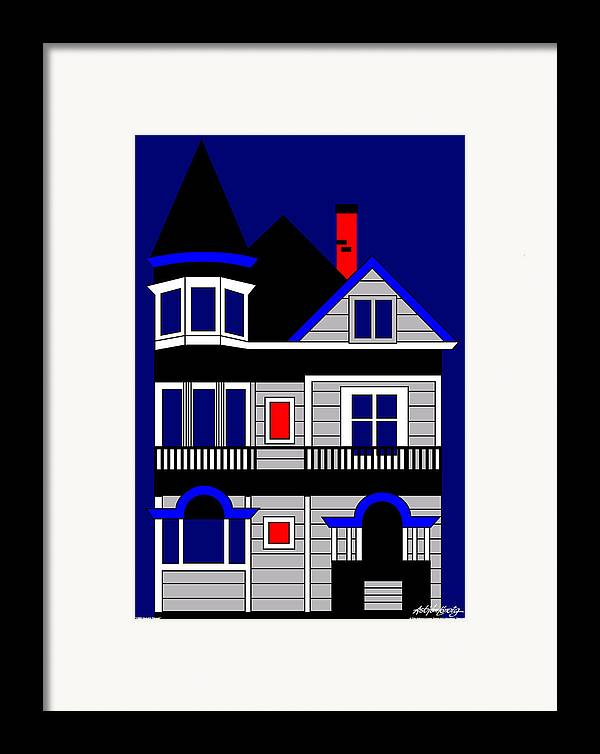 San Francisco Framed Print featuring the digital art 1080 Haight Street by Asbjorn Lonvig