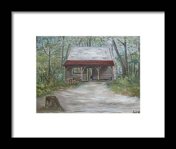 Early American Framed Print featuring the painting 1800 Log Cabin by Amelie Gates