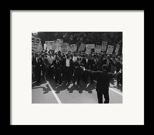 History Framed Print featuring the photograph 1963 March On Washington. Famous Civil by Everett