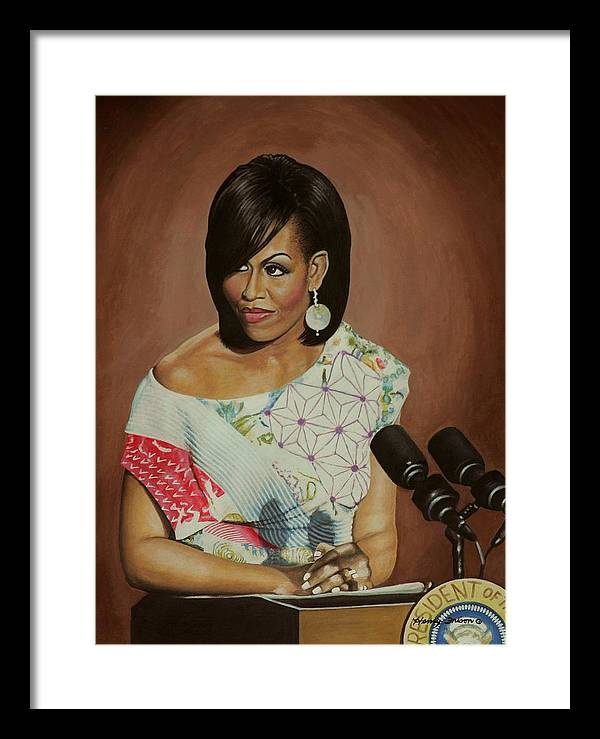 Famious People Framed Print featuring the painting 1st Lady Michelle Obama by Henry Frison