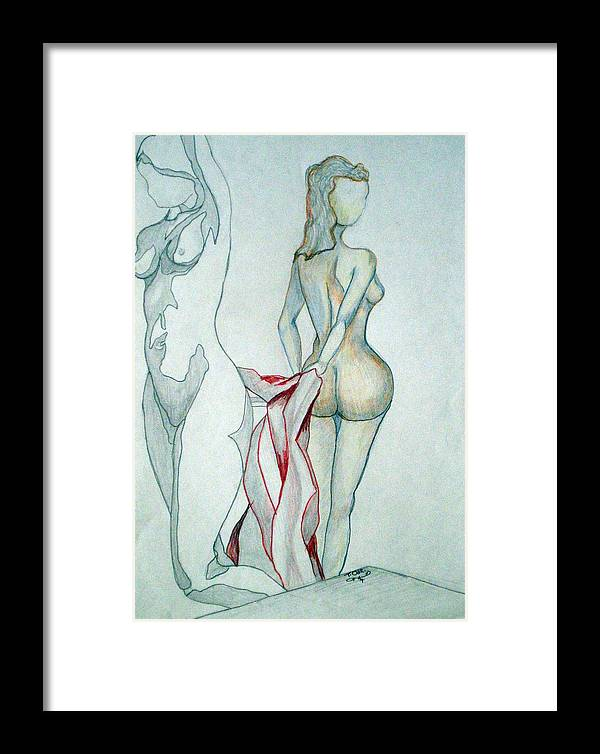Nudes Framed Print featuring the drawing 2 Women And A Blanket by Tammera Malicki-Wong