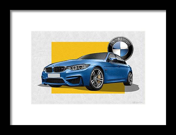 �bmw� Collection By Serge Averbukh Framed Print featuring the photograph 2016 B M W M 3 Sedan with 3 D Badge by Serge Averbukh