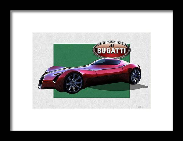 �bugatti� By Serge Averbukh Framed Print featuring the photograph 2025 Bugatti Aerolithe Concept with 3 D Badge by Serge Averbukh