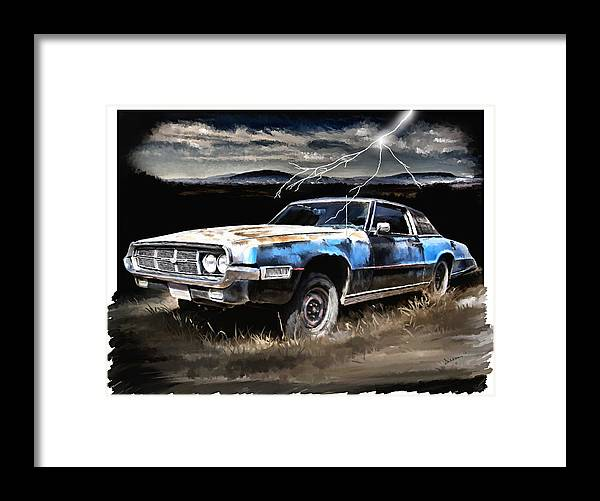 Thunder Framed Print featuring the painting 69 Thunderbird by Susan Kinney