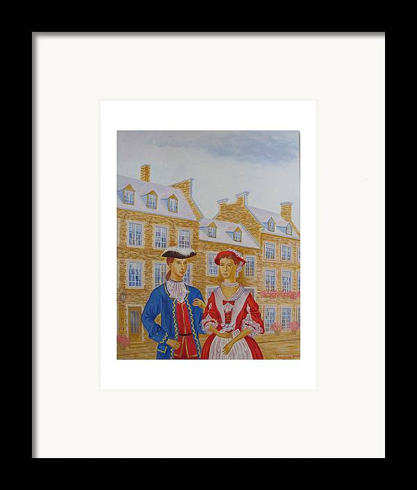 Figures Framed Print featuring the painting A Gentlemen With His Lady . by Natalia Piacheva