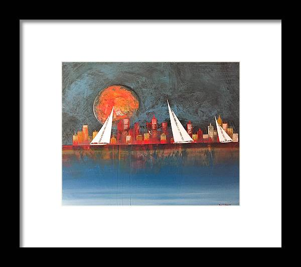 Cityscape Framed Print featuring the painting A Happy City by Barry Knauff
