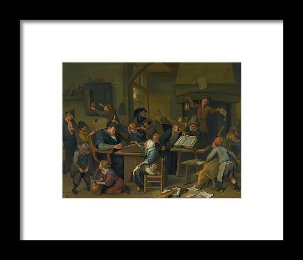 Jan Havicksz. Steen A Riotous Schoolroom With A Snoozing Schoolmaster Framed Print featuring the painting A Riotous Schoolroom With A Snoozing Schoolmaster by Jan Havicksz