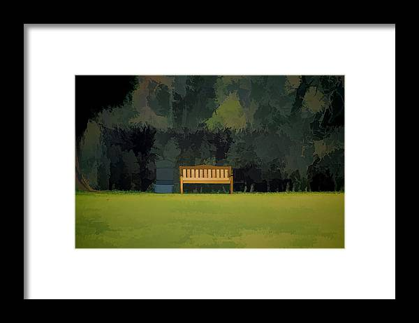 Bench Framed Print featuring the photograph A Trash Can And Wooden Benches In A Small Grassy Area by Ashish Agarwal