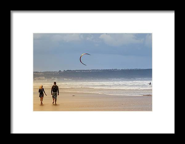 Saunton Sands Framed Print featuring the photograph A Walk On The Beach by Roger Cobb