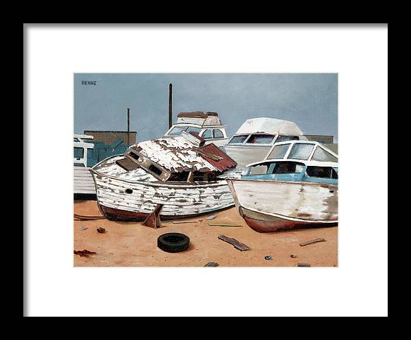Boats Framed Print featuring the painting Abandoned Dreams by Robert Henne