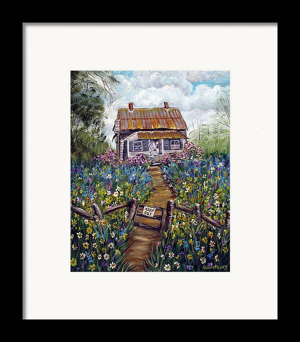 House Framed Print featuring the painting Abandoned House by Quwatha Valentine