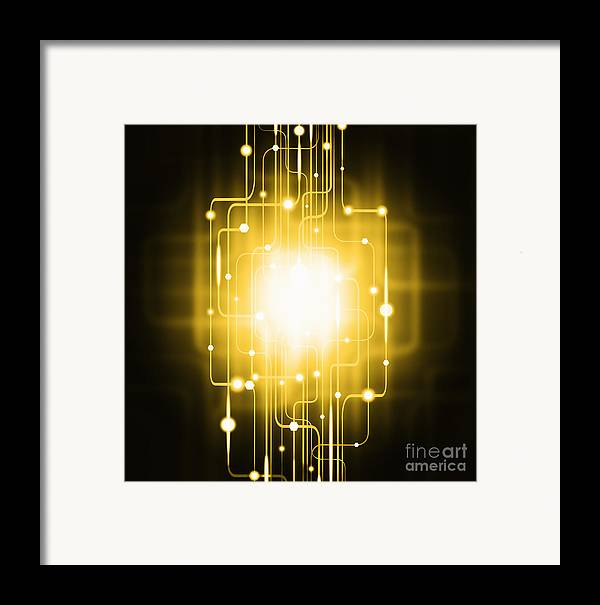 Abstract Framed Print featuring the photograph Abstract Circuit Board Lighting Effect by Setsiri Silapasuwanchai