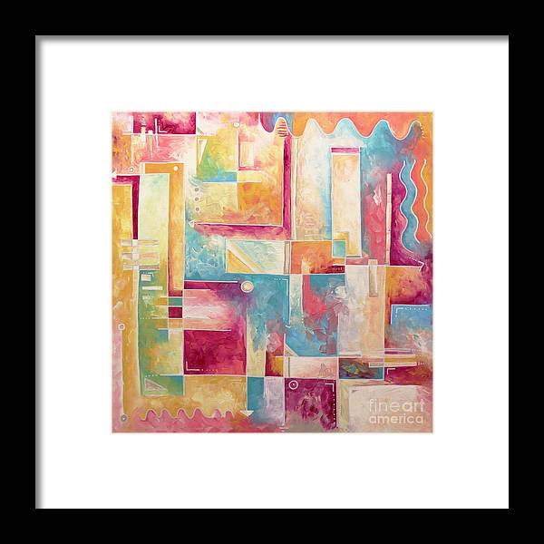 Abstract Pop Art Style Unique Pastel Painting Contemporary Art By Megan Duncanson Framed Print