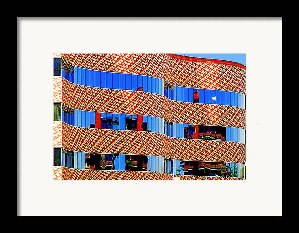 Facade Framed Print featuring the photograph Abstract Reflections In Glass Tucson Arizona by Christine Till