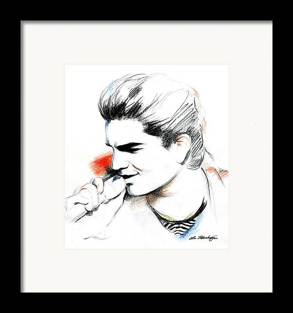Adam Lambert Framed Print featuring the drawing Adam Lambert by Lin Petershagen
