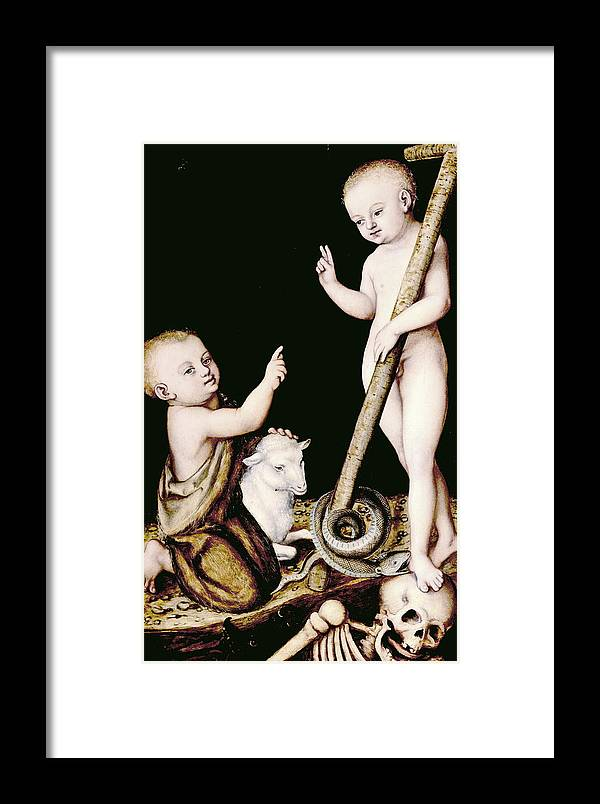 Jesus Framed Print featuring the painting Adoration Of The Child Jesus By St John The Baptist by Lucas Cranach the Elder