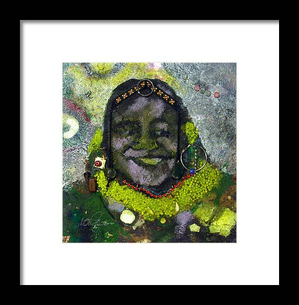 Relief Painting Framed Print featuring the painting African Bead Painting by Mohamed-saeed Omer
