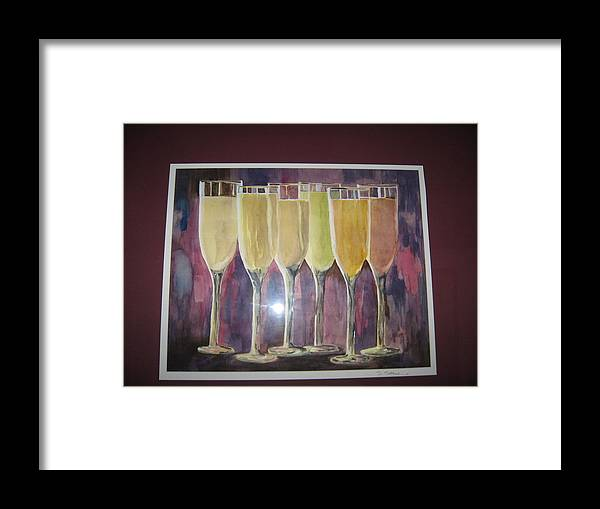 Champagne Framed Print featuring the painting After Five by Sheryl Sutherland